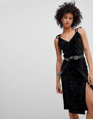 Black Crushed Velvet Dress Shopstyle Uk