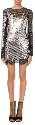 Balmain Long-Sleeve Mirrored-Sequin Mesh Mini Dress