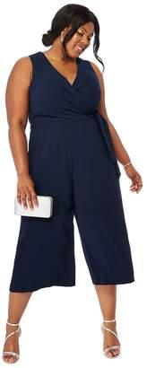 Debut Navy 'Ramona' Wrap Plus Size Jumpsuit