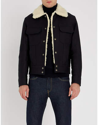 Sandro Faux shearling-collar cotton-drill jacket
