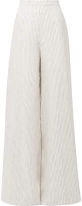 Miguelina Pamela Striped Linen Wide-leg Pants - White