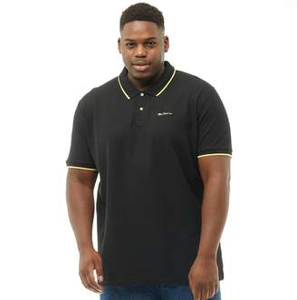 Ben Sherman Plus Size 2B Short Sleeve Tipped Pique Polo Black