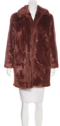 Frame Knee-Length Faux Fur Coat