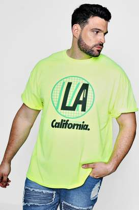 boohoo Big And Tall LA Neon Roll Sleeve T-Shirt