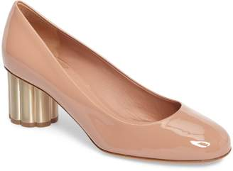 Salvatore Ferragamo Lucca Rounded Toe Flower Heel Pump