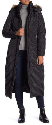 Larry Levine Quilted Down Feather Faux Fur Hood Coat