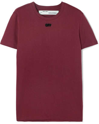Off-White Flocked Cotton-jersey T-shirt - Burgundy