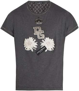 Dolce & Gabbana Embroidered-flower cotton and silk-blend T-shirt