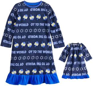 """Toddler Girl Jammies For Your Families Hanukkah """"Oy to the World"""" Microfleece Nightgown & Doll Gown Pajama Set"""