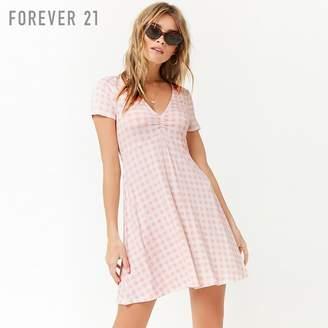 Forever 21 (フォーエバー 21) - Forever 21 Vネックギンガムスウィングワンピース