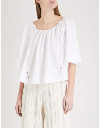 See by Chloe Drawstring cropped cotton-gauze top
