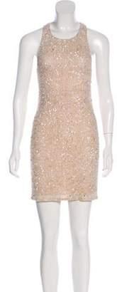 Alice + Olivia Embellished Knee-Length Dress Champagne Embellished Knee-Length Dress