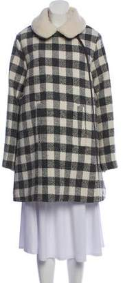 See by Chloe Faux Shearling Trim Gingham Coat