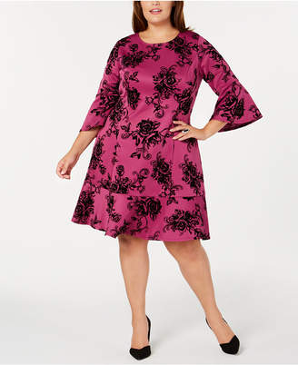 NY Collection Plus Size Bell Sleeve Fit & Flare Dress