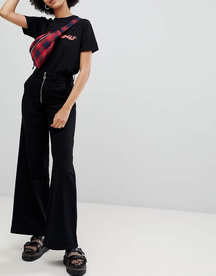 Chorus Wide Leg Jeans with Exposed Zip and Star Zip Puller