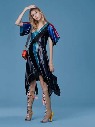 Diane von Furstenberg Flutter Sleeve V-Neck Dress
