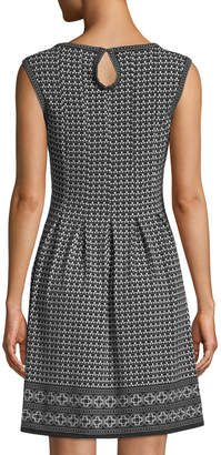 Max Studio Pleated Crewneck A-Line Dress
