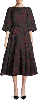 Co Bubble-Sleeve Belted Floral-Jacquard Cocktail Dress