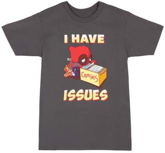 Mighty Fine mens Deadpool I Have Issues Charcoal T-Shirt