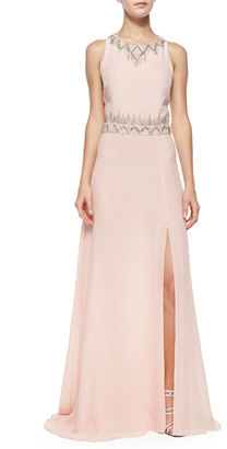 Nicole Miller Sleeveless Geo-Bead-Trim Gown $171 thestylecure.com