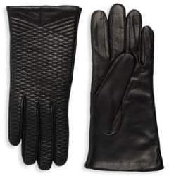 Portolano Crisscross Embroidered Leather Gloves
