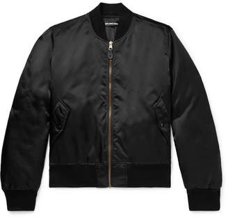 Balenciaga Embroidered Shell Bomber Jacket - Black