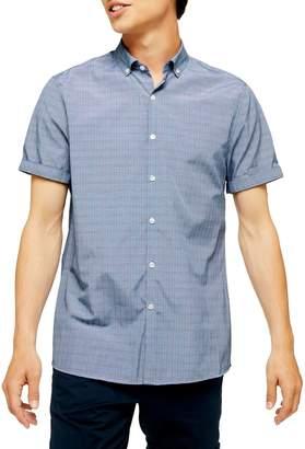 Topman Check Print Short Sleeve Sport Shirt
