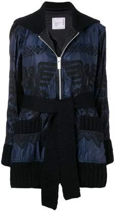 Sacai embroidered knit trim jacket