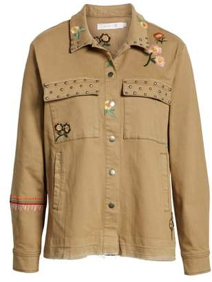 BILLY T Embroidery Stud Detail Cotton Twill Jacket