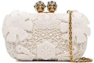 Alexander McQueen White Flower Appliqué Clutch Bag