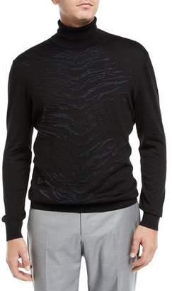 Stefano Ricci Men's Animal Stripe Turtleneck Sweater