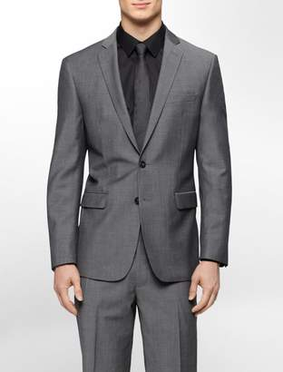 Calvin Klein body slim fit grey tick suit jacket