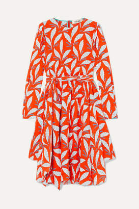 Diane von Furstenberg Belted Printed Silk Crepe De Chine Dress - Orange
