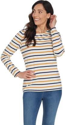 Denim & Co. Striped Perfect Jersey Round-Neck Long Sleeve Top