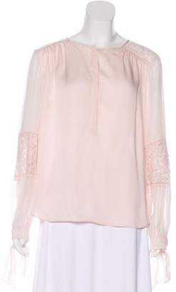 Rebecca Taylor Lace-Trimmed Silk Top w/ Tags