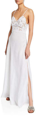 Miguelina Alessandra Sweetheart Lace-Bodice Spaghetti-Strap Dress