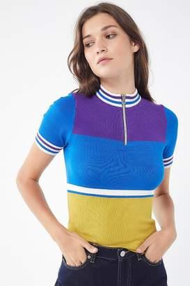 Urban Outfitters Hazel Half-Zip Short Sleeve Sweater