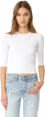 Vince Ribbed Elbow Sleeved Cropped Pullover $255 thestylecure.com