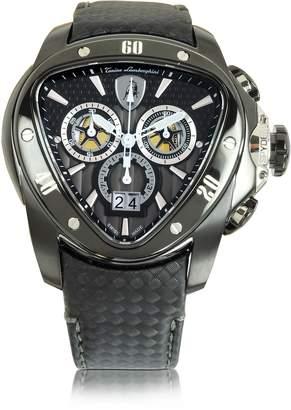 Lamborghini Tonino Black Stainless Steel Spyder Chronograph Watch w/Black Carbon Fiber Strap