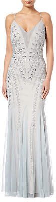 Adrianna Papell Bead Mesh Long Dress, Blue Heather/Silver