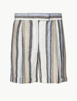 Marks and Spencer Pure Linen Striped Chino Shorts