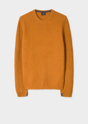 Paul Smith Men's Mustard Ribbed Wool-Blend Sweater