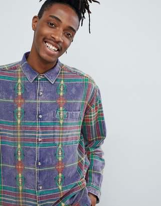 Asos DESIGN oversized purple check shirt with geo-tribal design