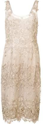 Marchesa floral applique midi dress
