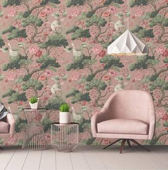 Woodchip & Magnolia Crane Bird Wallpaper
