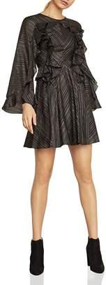 BCBGMAXAZRIA Ruffled Metallic-Stripe Dress
