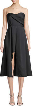 Black Halo Caine Strapless A-Line Cocktail Dress w/ Front Slit