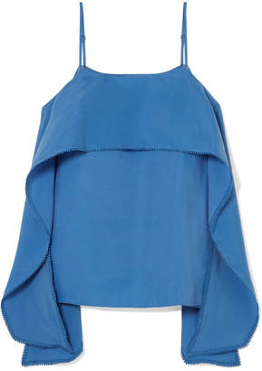 Halston Layered Crepe De Chine Camisole - Blue