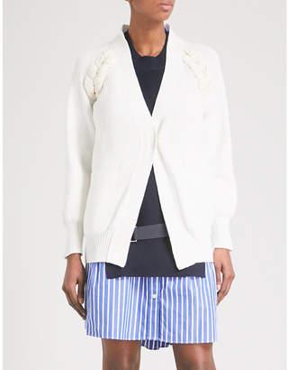 Sacai Braided-knit cotton-blend cardigan
