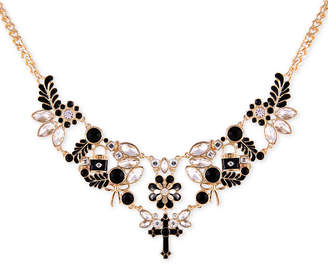"""GUESS Gold-Tone Jet Stone & Crystal Statement Necklace, 16"""" + 2"""" extender"""